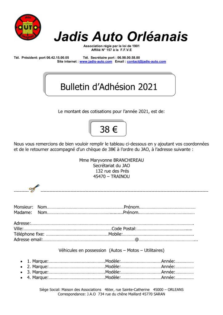 Bulletin d'adhesion 2021